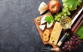 Picture wine, Apple, cheese, honey, grapes, Board