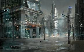 Picture city, anime, night, street, japanese