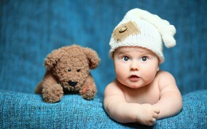 Picture toy, child, bear, Baby, bear, cap, baby, teddy, Cute