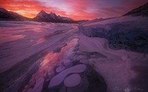 Picture winter, light, snow, sunset, mountains, river, ice, the evening