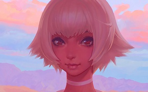 Picture eyes, girl, hair, anime, art, hairstyle, beauty