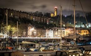 Picture trees, night, lights, river, home, yachts, UK, promenade, Bristol, Bristol
