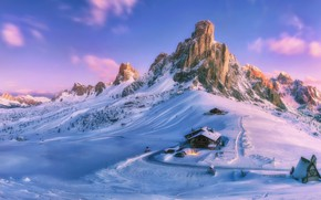 Wallpaper mountains, house, Paint your life, snow