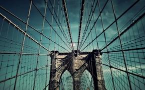 Picture bridge, the city, New York, Brooklyn Bridge