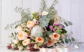 Picture roses, bouquet, gillyflower, Proteus