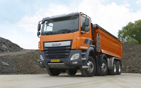 Picture orange, tent, body, the ground, DAF, DAF, dump truck, 8x4, Euro6, DAF CF 460 FAD