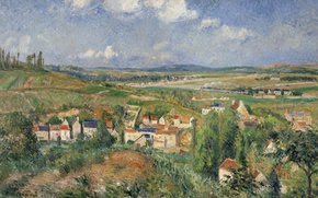 Wallpaper Camille Pissarro, picture, landscape, The Hermitage In The Summer. PONTOISE