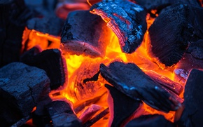 Picture fire, red, power, combustion, Coal