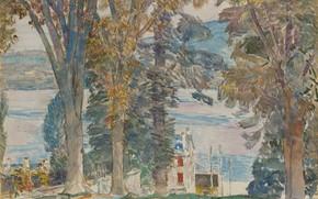 Picture landscape, figure, watercolor, Frederick Childe Hassam, Childe Hassam, Newburgh. New York