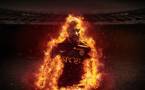 Picture wallpaper, sport, fire, stadium, football, player, AS Roma, Daniele De Rossi, The Olympic Stadium