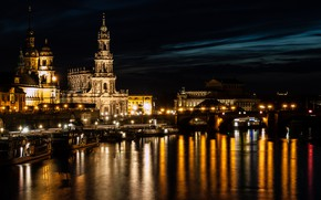 Picture night, lights, river, Germany, Dresden
