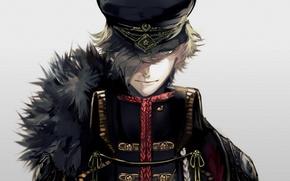 Picture face, fur, guy, cloak, grey background, cap, military uniform, bangs, Touken Ranbu, Uguisumaru