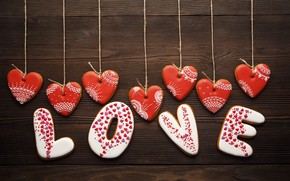 Picture red, Valentine's Day, romance, hearts, hearts, love, romantic, cookies, love