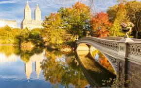 Picture autumn, bridge, lake, New York, USA, Central Park