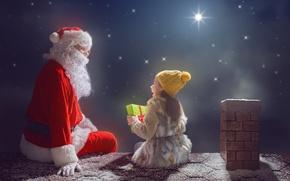 Wallpaper night, merry christmas, santa claus, New Year, Christmas