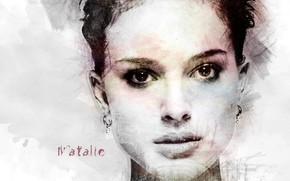 Wallpaper girl, face, actress, art, Natalie Portman