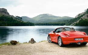Picture forest, mountains, red, nature, lake, stones, shore, Porsche, red, is, Boxster, wild, cabrio, convertible coupe, …
