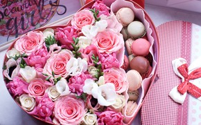 Picture flowers, box, gift, heart, roses, Valentine's day, freesia, macaroon