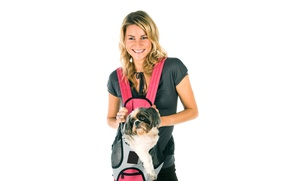 Picture girl, smile, dog, t-shirt, hairstyle, white background, bag, Shih Tzu