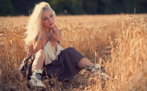 Picture field, look, pose, skirt, shoes, blonde, ears, Jack Russell, Nikki Pixie