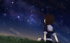 Picture the sky, night, stars, anime, art, girl, Kantai Collection
