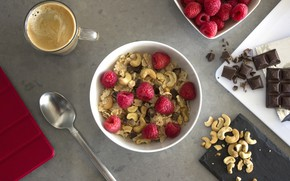 Picture raspberry, coffee, chocolate, Breakfast, nuts, cereal, cashews
