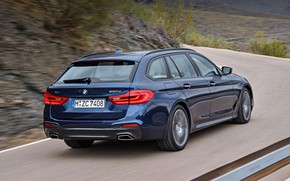 Picture road, vegetation, turn, BMW, slope, rear view, universal, xDrive, Touring, 530d, 5, dark blue, 2017, …