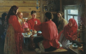 Picture oil, the tea party, Canvas, Ivan KULIKOV, In a peasant hut