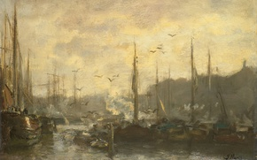 Picture the city, oil, picture, canvas, Jacob Maris Hendrikus, A view of the Harbour