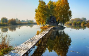 Picture lake, reflection, bridges, wooden house