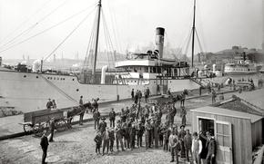 Picture retro, ship, pier, port, steamer, USA, 1902-the year