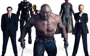 Picture weapons, white background, characters, Avengers: Infinity War