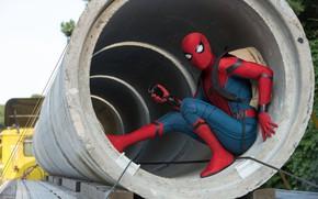 Picture fiction, frame, costume, backpack, Marvel, comic, Spider-Man, Peter Parker, Tom Holland, Tom Holland, Spider-Man: Homecoming, …
