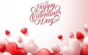 Picture background, the inscription, hearts, red, white, Valentine's day, congratulations, Happy Valentine's Day