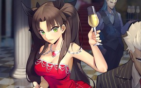Picture girl, guys, Fate/Stay Night, Rin