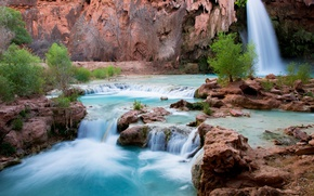 Picture water, trees, landscape, nature, waterfall, Arizona, Havasu Falls