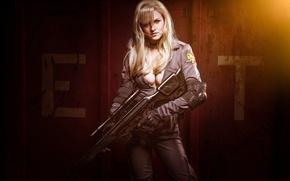 Picture girl, gun, weapon, woman, big, sniper, Metal Gear Solid, cosplay, blonde, rifle, oppai, Foxhound, uniform, …