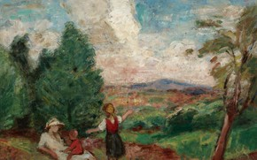 Picture nature, picture, Georges d'espagnat, Mother and Children in Landscape
