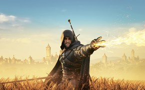 Picture field, the city, flame, The Witcher, Herald, The Witcher 3: Wild Hunt, The Witcher 3 ...