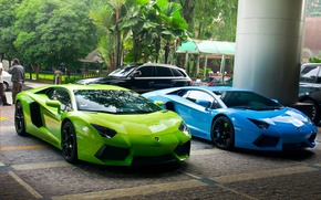 Picture green, Lamborghini, blue, street, Aventador