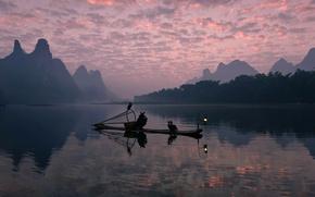 Picture birds, river, boat, fisherman, morning