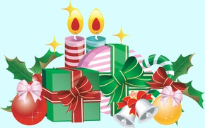 Picture holiday, vector, candles, art, gifts, New year
