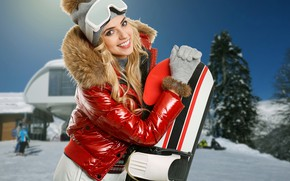 Picture winter, snow, trees, smile, background, mood, snowboard, hat, portrait, makeup, glasses, jacket, hairstyle, blonde, gloves, …