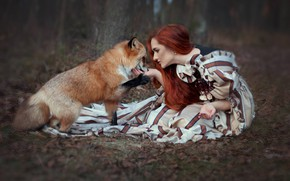 Picture forest, girl, dress, Fox, red, redhead