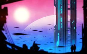 Picture city, fantasy, sunset, science fiction, people, sci-fi, digital art, buildings, artwork, skyscrapers, fantasy art, cityscape, …