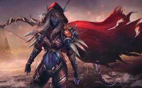 Picture chest, elf, bow, Archer, art, hood, World of Warcraft, cloak, Warcraft, wow, sylvanas windrunner