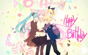 Picture style, anime, art, Vocaloid, Vocaloid, characters, bright background
