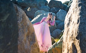 Picture girl, style, stones, dress
