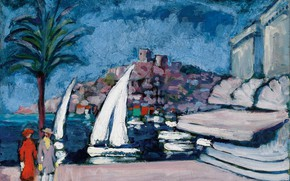 Picture Palma, oil, pair, canvas, boats, Cannes, Kees van Dongen