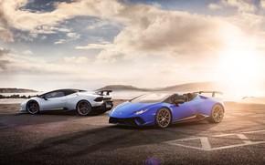 Picture coast, Lamborghini, pair, Spyder, 2018, Performante, Huracan